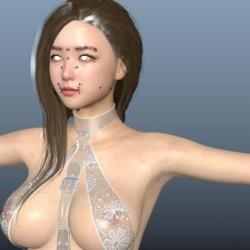 超精度写实蕾丝婚纱美丽女孩角色模型