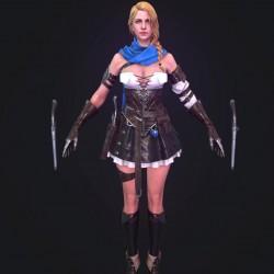 精美次世代3d模型  美女 枪手角色模型