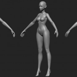 卡通风女裸模