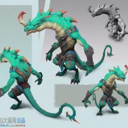 精品手绘蜥蜴人怪物3d模型源文件