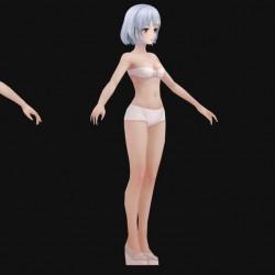 手绘 卡通风 女基础模型 女裸模  标模
