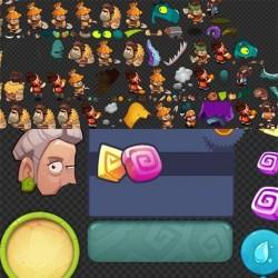 游戏原画 Q版石器大冒险 场景素材 2D资源 可爱卡通修图 905张 UI