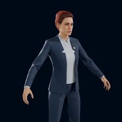 [控制 Control] 高精度 PBR 杰西 女性模型 - 正装套装