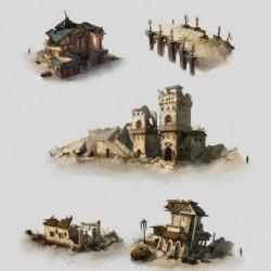 Q版卡通写实CG场景建筑原画设定游戏美术素材单体建筑概念