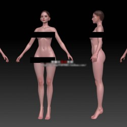 ZBrush卡通二次元 女孩游戏女性角色欧美人物zb源文件ztl裸模素材