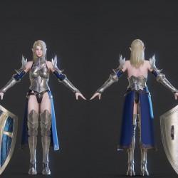 3dMax/maya次世代PBR游戏女性角色精灵护卫模型/次世代游戏战士