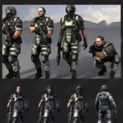 unity3d模型素材人物角色 CS射击枪战士兵战争反恐游戏资源带动作