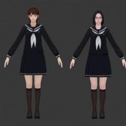 校园恐怖迷宫类游戏【White Day 白色情人节】人物模型 日式学生服装