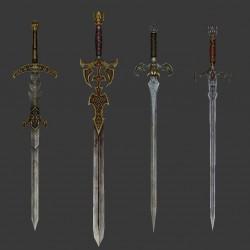 6把写实欧洲中世纪宝剑 双手大剑3d模型