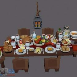 地下城手游低模食物厨房肉类模型合集卡通魔幻风格