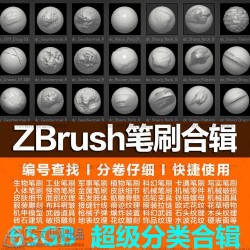 ZB笔刷zbrush石木头毛发皮肤机械衣服布料褶皱折金属缝线破损花纹等