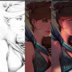 女人绘画过程