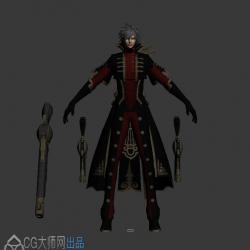 游戏角色 炫酷枪手炎天 3DMax模型 带绑定下载