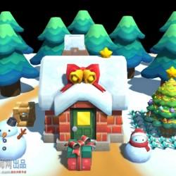 卡通Q版手繪風 圣诞节 雪人 圣誕樹 聖誕屋 小场景模型