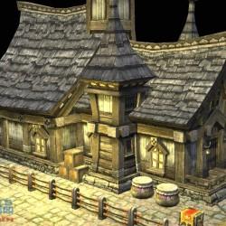 寫實風西欧老房屋 木頭房子 模型