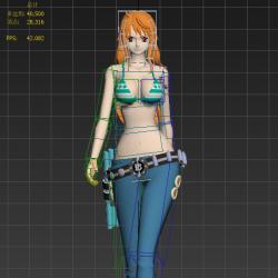 海贼王-娜美-绑定了骨骼-加一个走路动画-面数有四万