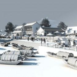古代码头3d场景模型