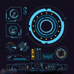 锁定-科技UI-潮流线条未来高科技科幻机械HUD电影UI数据平面设计矢量素材aieps