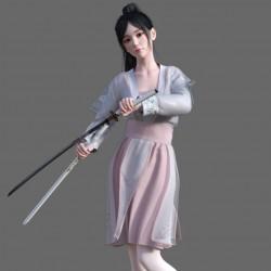 两个 绝美容颜 中国古风 性感女子角色 模型