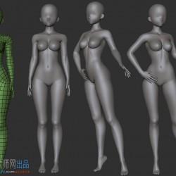 a站大佬标准日式卡通女性人体 素体 裸模 BPR专用