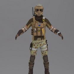 免费全副武装的 军人 次时代模型
