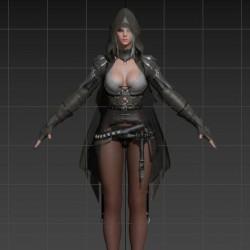 黑色沙漠丝袜美女角色模型带绑定