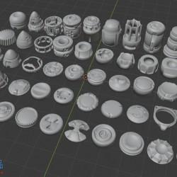 50个硬表面材质零件(OBJ格式)
