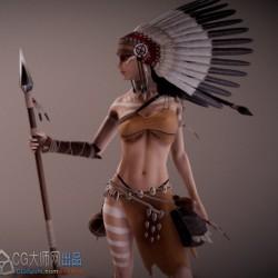 欧美卡通次世代 pbr Linhi Character 印第安少女角色模型