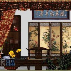 超写实 古代建筑室内场景古典书房3Dmax模型