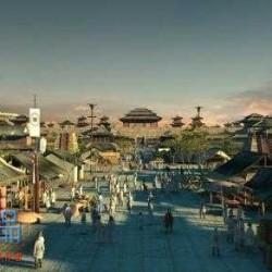 古代西汉风未央宫3dmax模型古代商业街古建筑集市