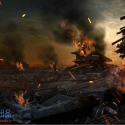 古代皇城建筑战争后的废墟完整镜头 3d模型