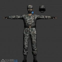 一套 军人 霸气威武解放军模型,PBR流程,带法线和混合贴图