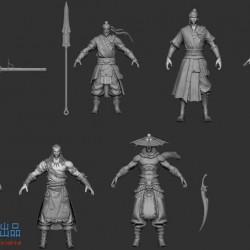 中国古风人物角色模型,远古项目7个角色模型ZB文件打包