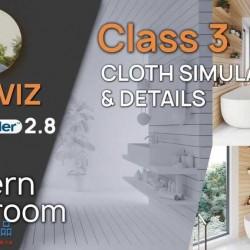Blender 2.8 EEVEE室内表现课程-现代浴室-布料模拟和细节