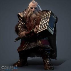 游戏中的矮人战士3D角色创建