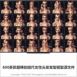 3dsmax模型素材 600多款现代女性发型 三维中高模头发模型 CG发型 资源容量为6g以上