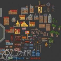 欧美卡通城市元素
