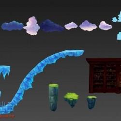 魔幻横版跑酷素材 3D仿2D手游 场景 模型