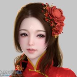 旗袍小妮子模型 古代卡通美女 cg影视角色