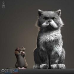 超写实高精度老鼠和猫3D模型