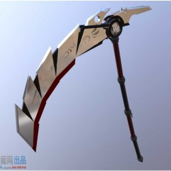 rwby武器模型,qrow镰刀,raven长刀,ruby镰刀