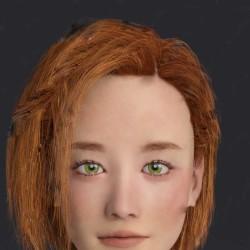 年轻美丽女性多种眼球颜色精致眼妆唇妆3D模型