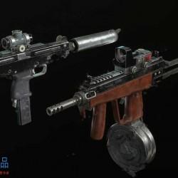 游戏冲锋手枪突击机关手枪高精度3D模型