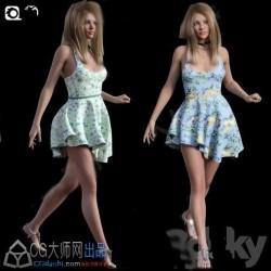 清爽花纹连衣裙年轻欧美女孩角色3D模型