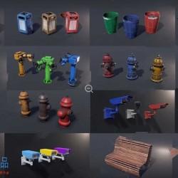 摄像头长椅垃圾桶消防栓室外物体模型道具UE4游戏素材资源