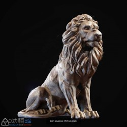 三组雄狮狮子雕刻造型高精度3D模型