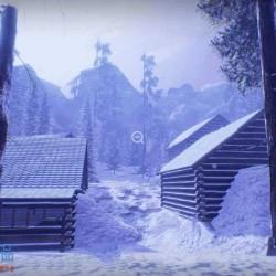 林中小屋森林山路植被冬季雪天景观UE4游戏素材资源