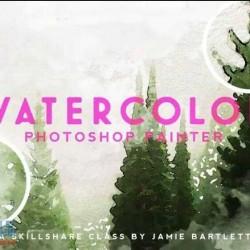 PS照片水彩画艺术特效实例制作视频教程
