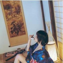 日式和风摄影素材 人体模特服装孔雀和服写真美术图片高清参考