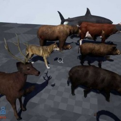 32种立体逼真不同动画动物群UE4游戏素材资源